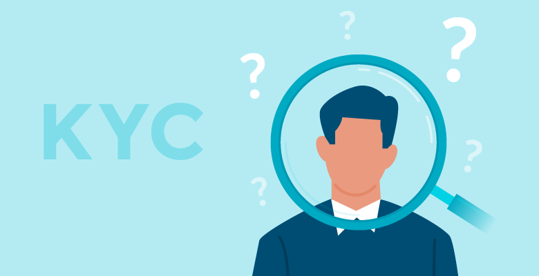 Know Your Customer - KYC - Customer under magnifying glass surrounded by question marks, big and small