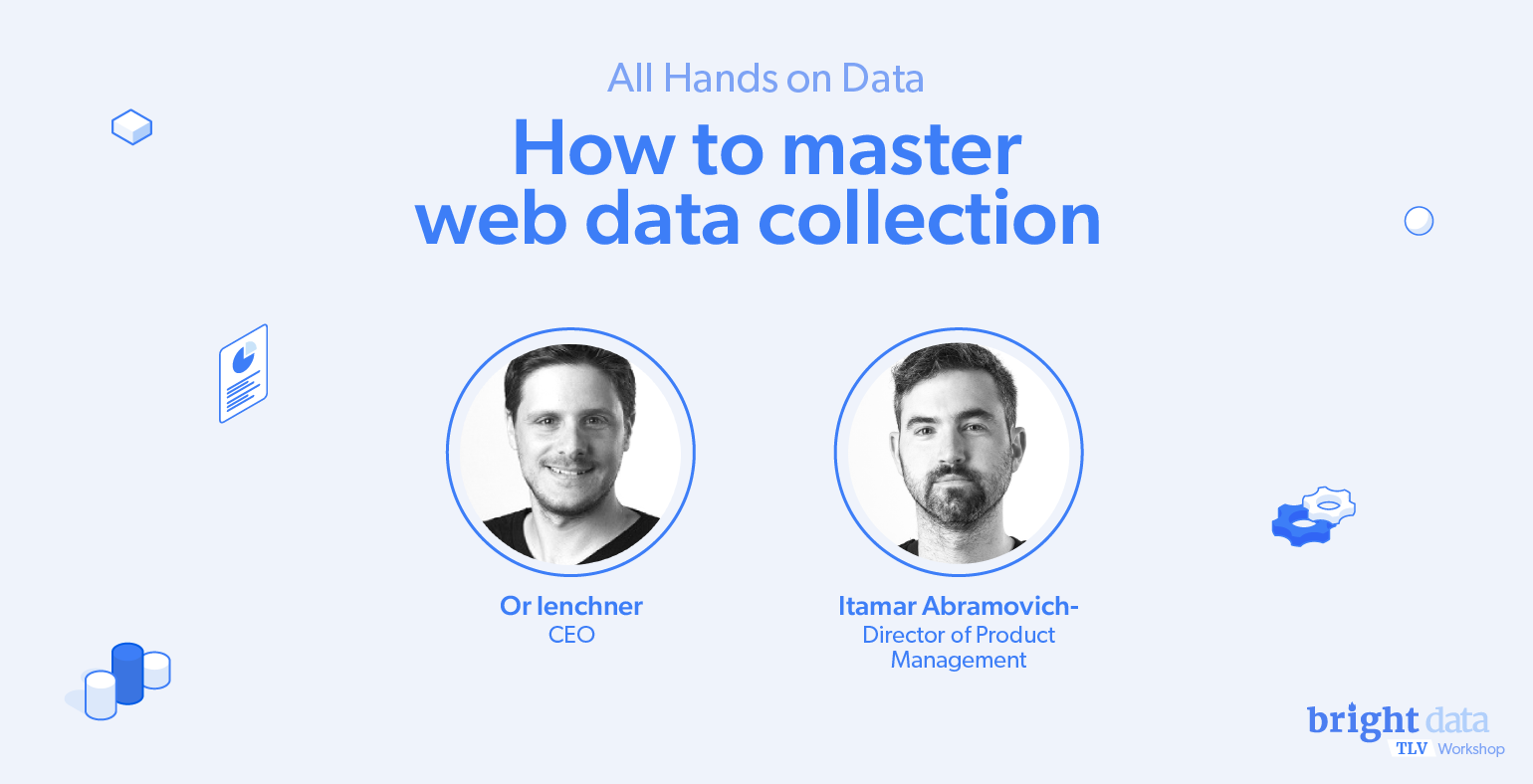 All Hands On Data How To Master web Data Collection | Or Lenchner CEO and Itamar Abramovich Director of Product Management - blue color graphic with settings and graph widget icons